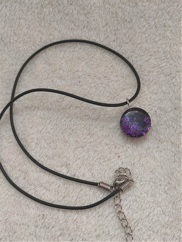 Two sided purple galaxy pendant