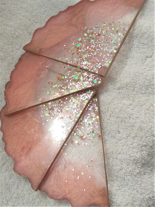 Transparent pink/gold pearl agate coaster set