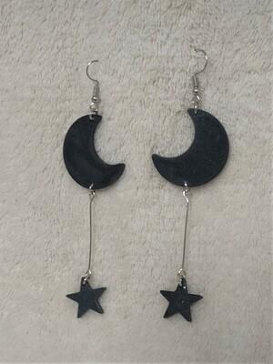 Double drop moon star earrings