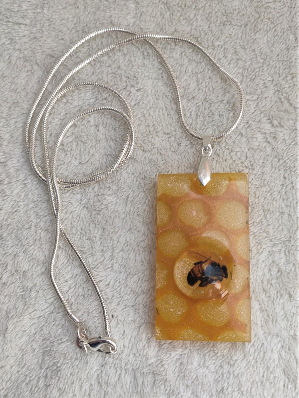 Encapsulated Honeybee pendant