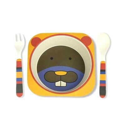 """Детский мини-набор посуды из бамбука """"Бобёр"""""""