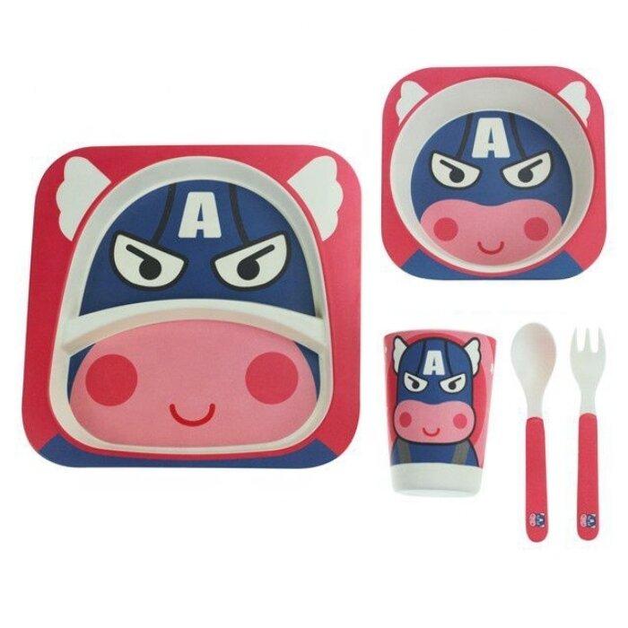 """Детский набор посуды из бамбука """"Капитан Америка"""""""
