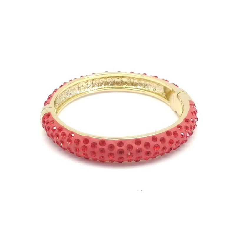 Браслет, кристаллы, золото, RED CHERRY, S