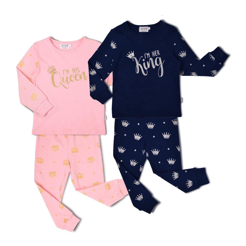 """Детская пижама """"Король с королевой"""", синий"""