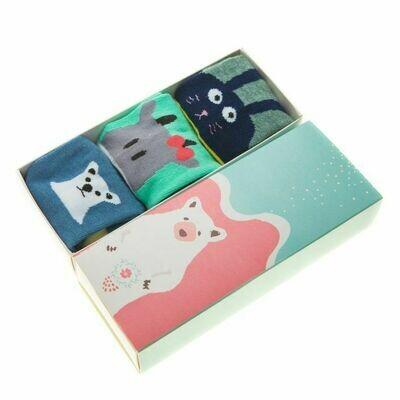 """Детские носочки в подарочной упаковке """"Веселые зверята"""""""