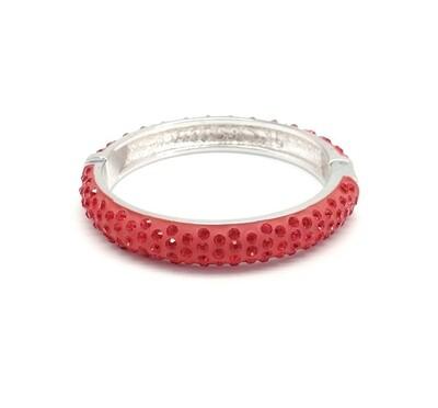Браслет, кристаллы, серебро, RED CHERRY, S