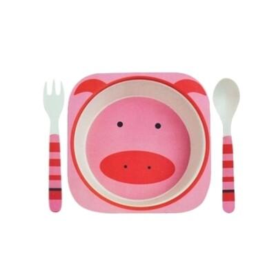 """Детский набор посуды из бамбука """"Свинка"""""""