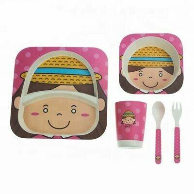 """Детский набор посуды из бамбука """"Девчонка"""""""