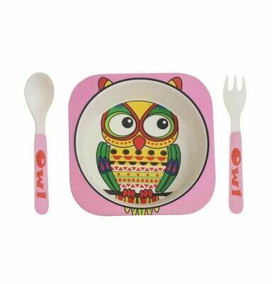 """Детский мини-набор посуды из бамбука """"Розовая сова"""""""