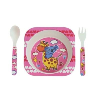 """Детский мини-набор посуды из бамбука """"Жираф и коала"""""""