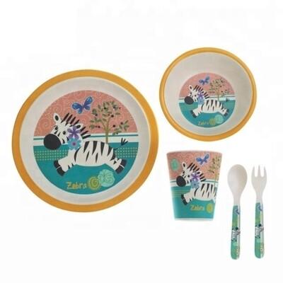 """Детский набор посуды из бамбука """"Зебра"""""""