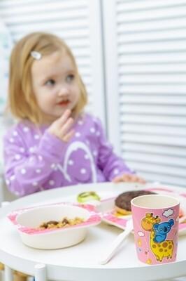 """Детский набор посуды из бамбука """"Жираф и коала"""""""