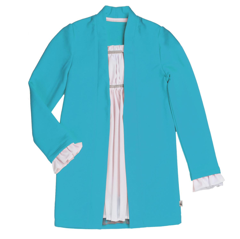 Платье с длинным рукавом (Блю бёрд / белый)