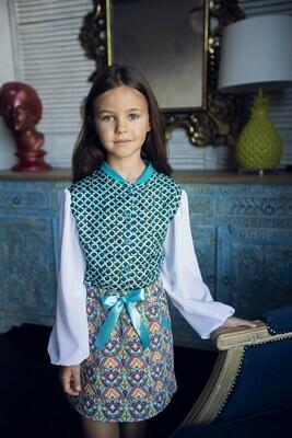 Блузка с длинным рукавом (Колечки / белый)