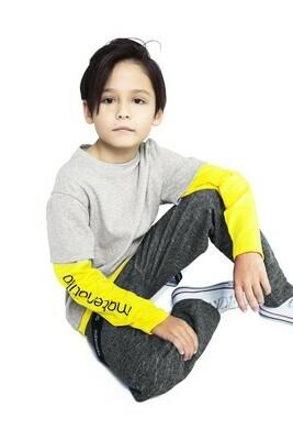 Футболка с длинным рукавом (Серый меланж / Ярко-жёлтый)
