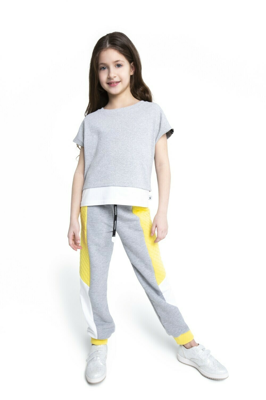 Спортивные брюки с цветными вставками  (Лимон / Белый / Серый меланж)