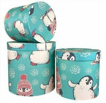"""Коробка подарочная круглая """"Пингвины"""""""