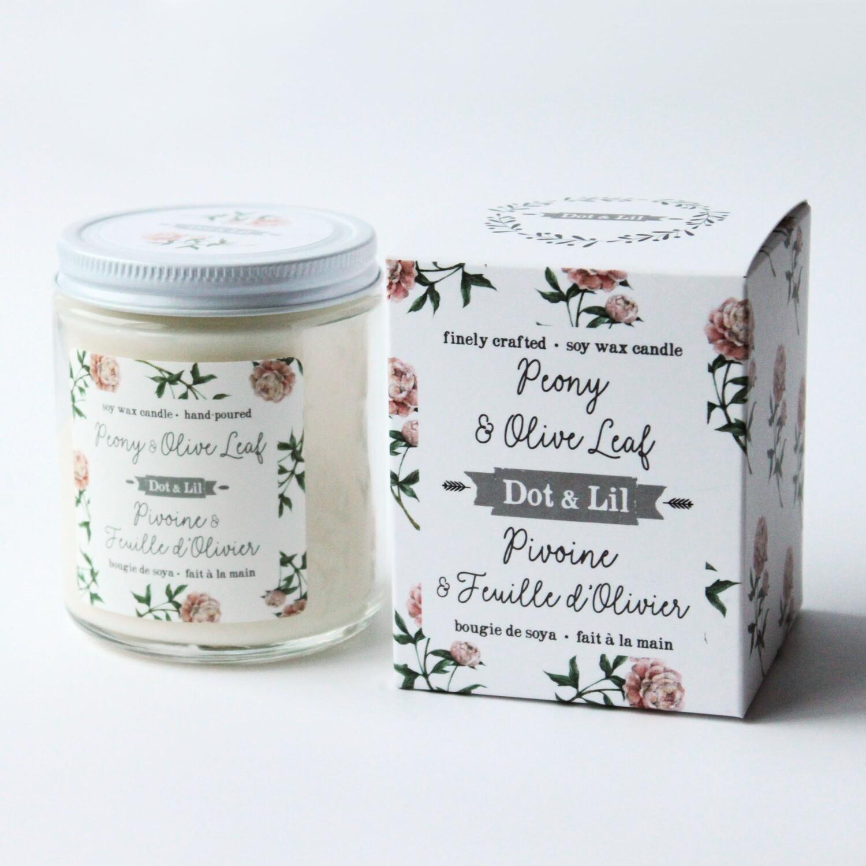 Peony & Olive Leaf Candle