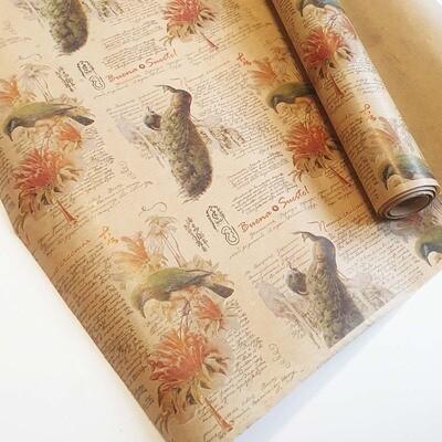 Крафт бумага в рулоне 40 гр Птица счастья - 72 см х 10 м - рулон