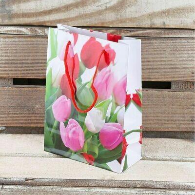 Пакет ламинированный тюльпаны 15х12х6,5 см