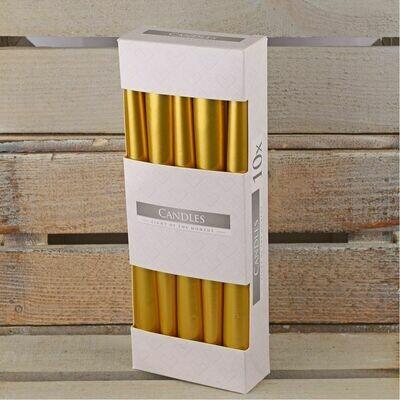Свечи 25 см золотые 10 штук