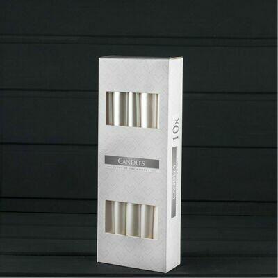 Свечи 25 см белый перламутр 10 штук