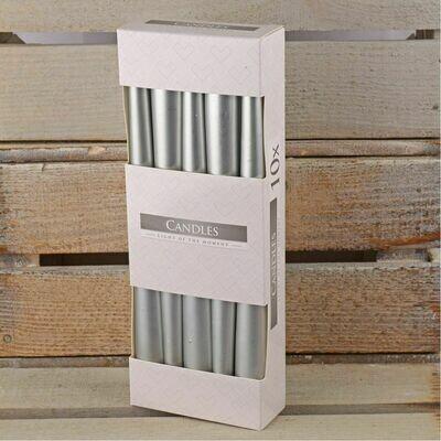 Свечи 25 см серебрянные 10 штук