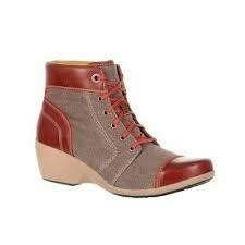 """Rocky 4EurSole Women's 5"""" High Wedge Canvas And Leather Lace Boot"""
