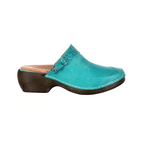RKYH033 (Rocky 4eursole Work Shoe Womens Western Embellished Clog,Teal)