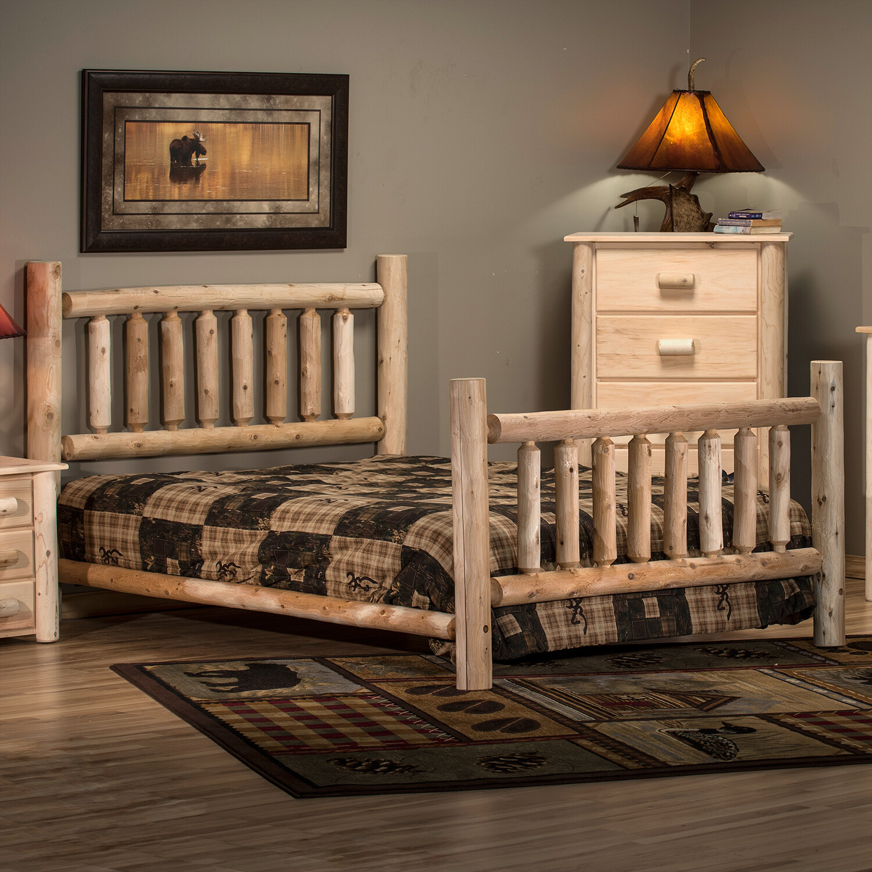 ALT38/H Low Post Cedar Log Bed, Twin, Unfinished
