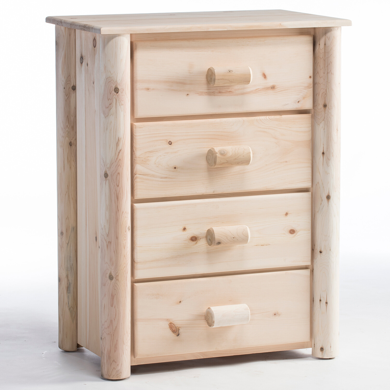 H4/N (Frontier Log 4 Drawer Dresser / Unfinished)