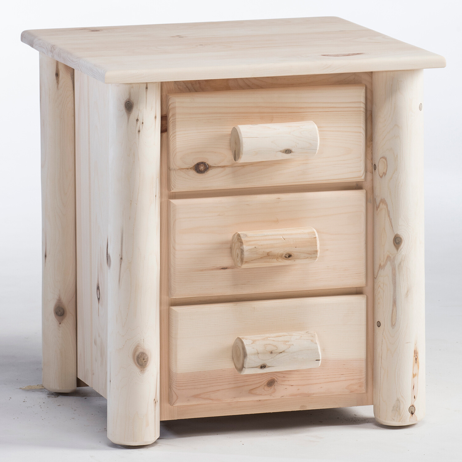 HNS3/N Frontier Log 3 Drawer Nightstand / Unfinished
