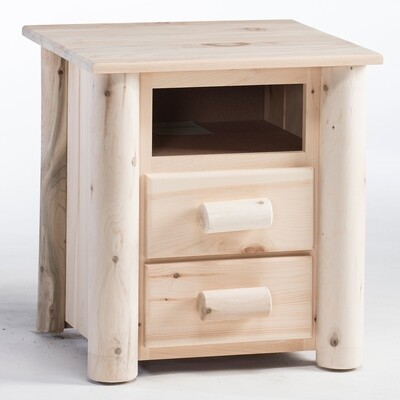 HNS2/N Frontier 2 Drawer Log Nightstand, Unfinished