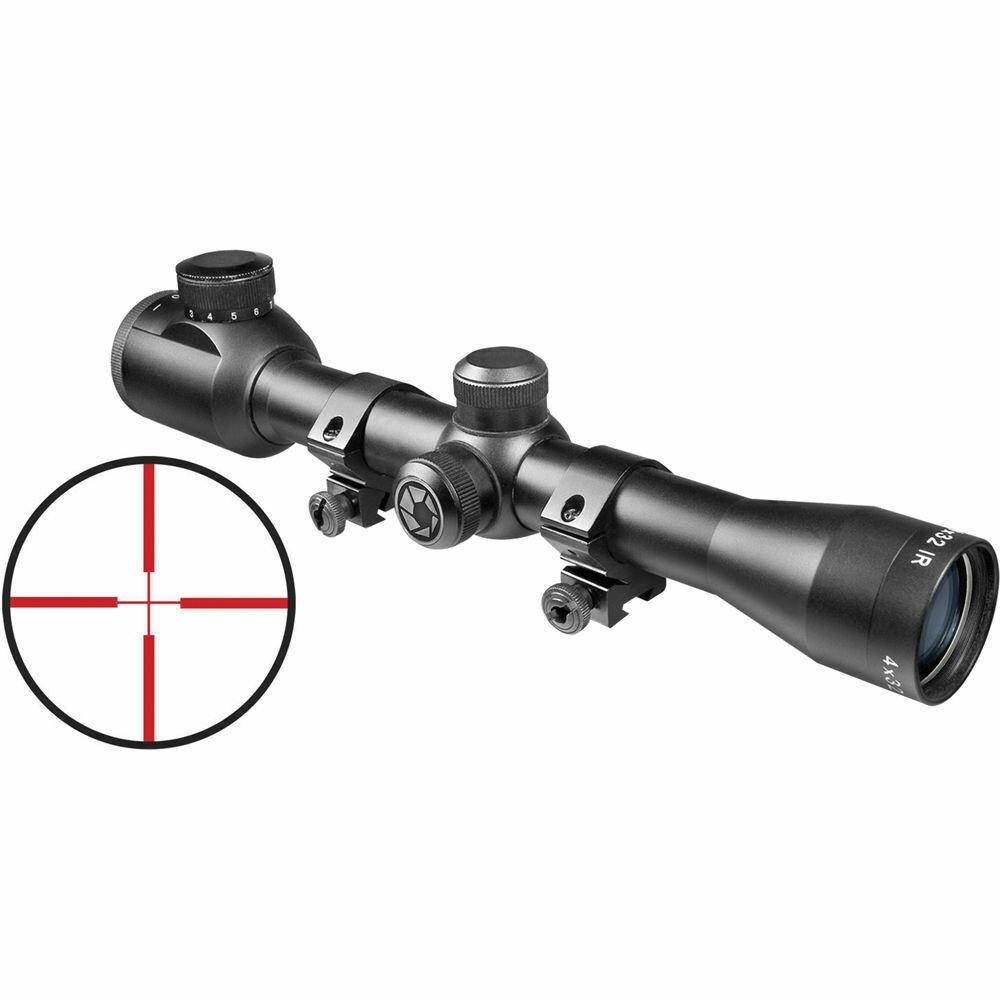 BARSKA 4x32mm Plinker-22 Rifle Scope with IR Reticle and Rings