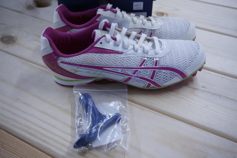 G154N Asics Hyper Rocketgirl 5 Track Shoes with Spikes, Fuschia/white/apple