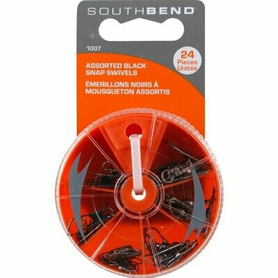 South Bend 1007 Assorted Fishing Snap Swivels, Black