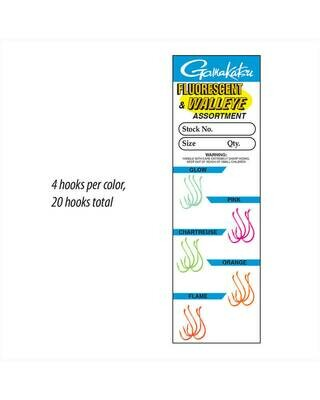 Gamakatsu Walleye & Steelhead Fluorescent Hook 20 pack, assorted sizes