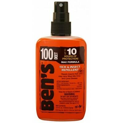 Bens Max Formula 100 Tick & Insect Repellent 3.4 oz Pump Spray 100% Deet