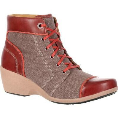 """Rocky 4EurSole Womens 5"""" High Wedge Canvas/Leather"""