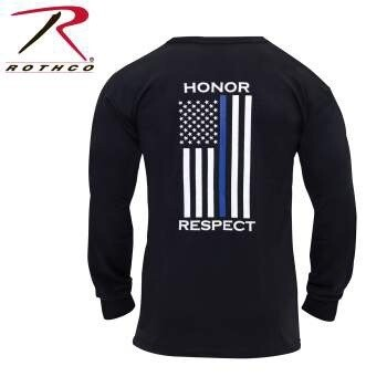 ROTHCO THIN BLUE LINE HONOR AND RESPECT LONG SLEEVE T-SHIRT