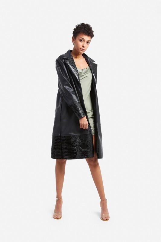 Croco leather coat