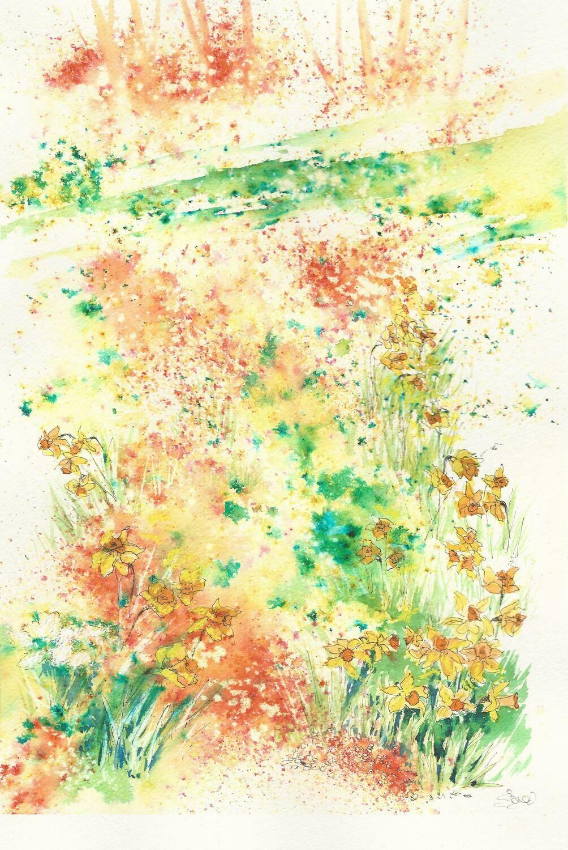 'Daffodils in woodland'