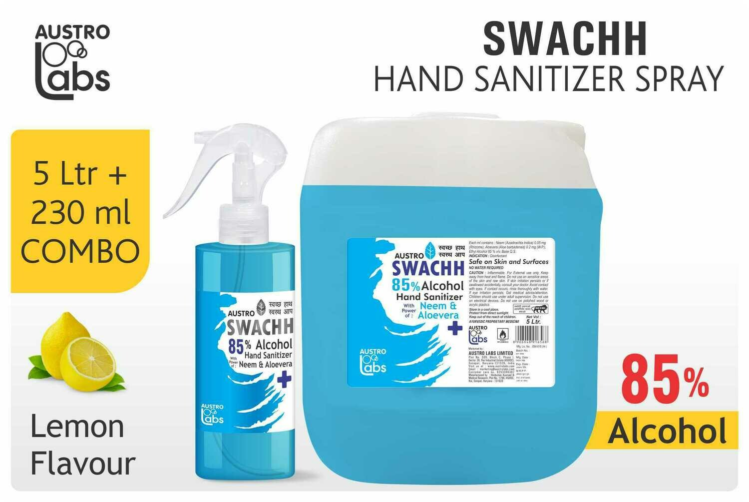 Austro Labs Swachh Hand Sanitizer Refill and Spray - Pack of 2