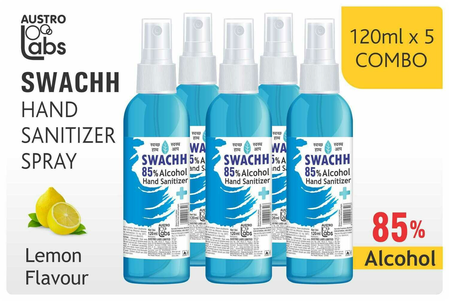 Austro Labs Swachh Hand Sanitizer (Mist) - Pack of 5