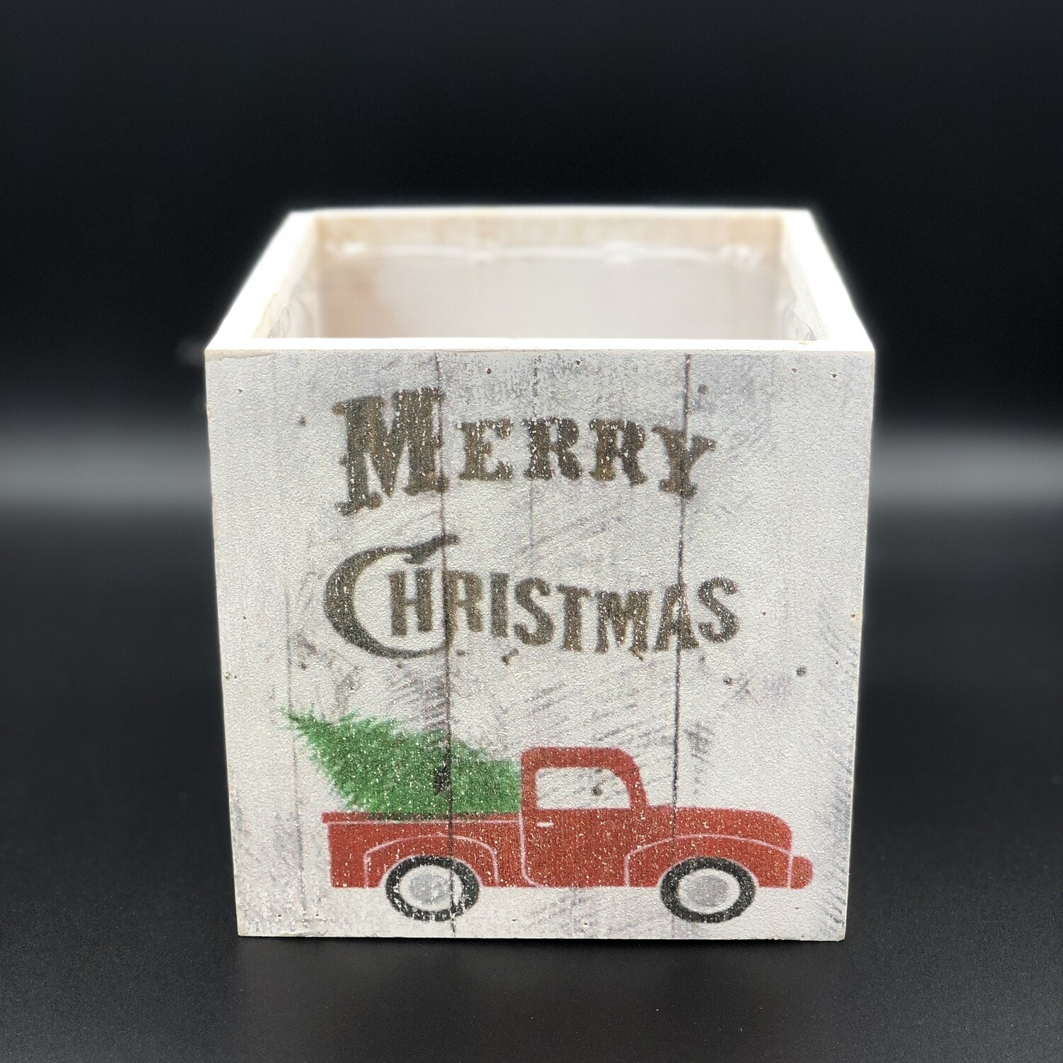 """Whitewashed Cube with Red Truck, 5"""""""