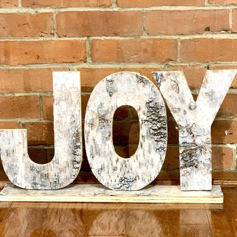 """Joy"" birch sign"