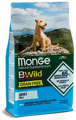 Monge Mini Adult Acciughe Беззерновой корм из анчоуса с картофелем и горохом для взрослых собак мелких пород 2,5кг.