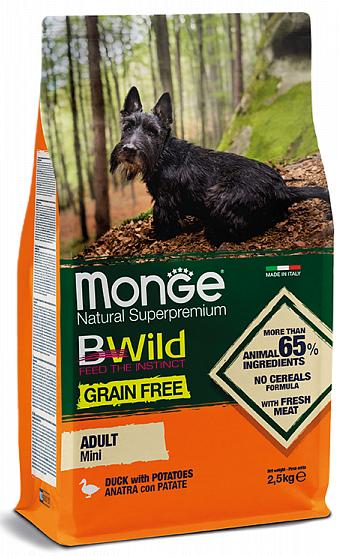Сухой корм Monge Dog BWILD Mini Grain Free, Монж беззерновой из мяса утки с картофелем для взрослых собак мелких пород 2,5кг