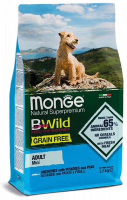 Сухой корм для собак всех пород Monge Dog Bwild Grain Free из анчоуса с картофелем и горохом 12кг.