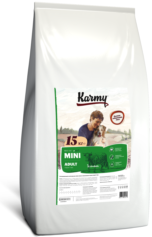 Сухой корм для собак Karmy Mini Adult телятина, 15кг.